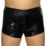 Mens Boxer Brief Shiny Metallic Trunks Contoured Pouch Full Back