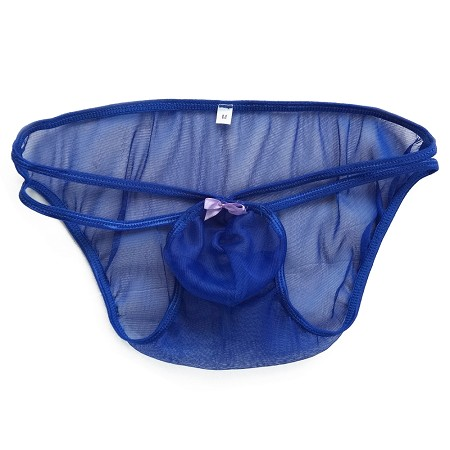 K6787 Mens Stretchy Mesh Small Pouch String Bikini C-thru Polyester Net